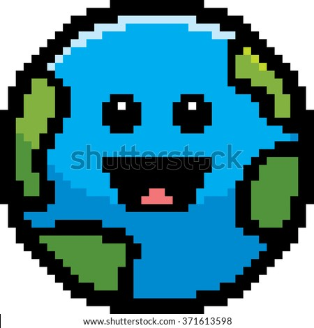 An illustration of a planet earth smiling in an 8-bit cartoon style.