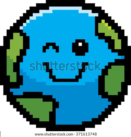 An illustration of a planet earth winking in an 8-bit cartoon style. - stock vector