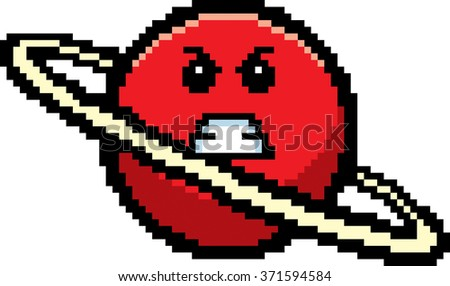 An illustration of a planet looking angry in an 8-bit cartoon style. - stock vector