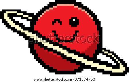 An illustration of a planet winking in an 8-bit cartoon style. - stock vector