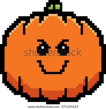 An illustration of a pumpkin looking evil in an 8-bit cartoon style.