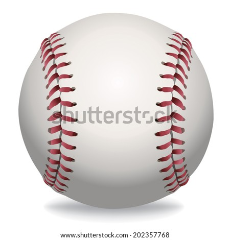 An illustration of a realistic baseball isolated on white. Vector EPS contains transparencies and gradient mesh. - stock vector