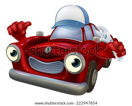 An illustration of a red cartoon car character wearing a baseball cap hat and holding a spanner while giving a thumbs up. - stock vector