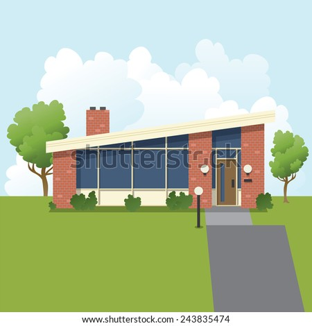 An illustration of a retro 1960s style, mid-century modern, suburban bungalow house. - stock vector