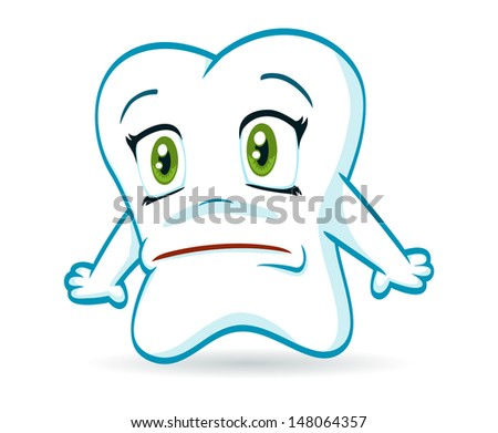 An illustration of a scared cartoon tooth.