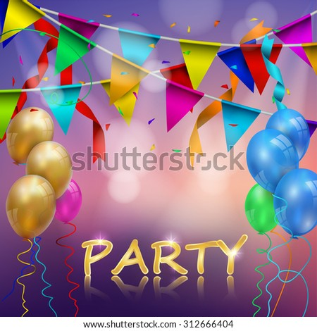 An illustration of a set of colourful birthday or party balloons - stock vector