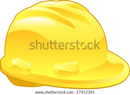 An illustration of a shiny yellow hard hat - stock vector
