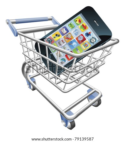 An illustration of a shopping cart trolley with smart phone mobile phone - stock vector
