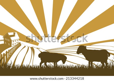 An illustration of a silhouette lamb or sheep in a field on a farm with sunrise and farmhouse in the background - stock vector