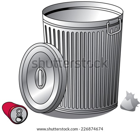 An Illustration of a silver Trash can and trash - stock vector
