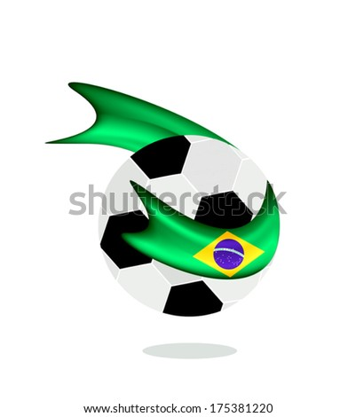 An Illustration of A Soccer Ball or Football with A Brazil Flag of Brazil Championship , Isolated on A White Background.  - stock vector