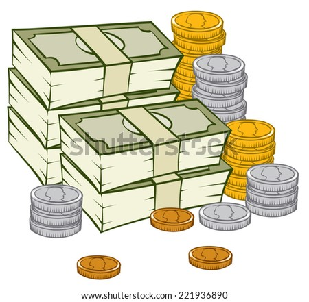 An Illustration of a stack of money and coins - stock vector