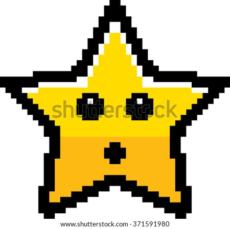 An illustration of a star looking surprised in an 8-bit cartoon style. - stock vector