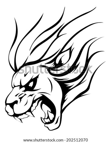 An illustration of a strong angry lion mascot roaring - stock vector