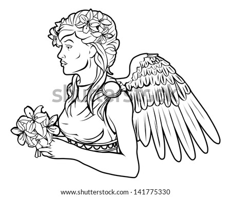 An illustration of a stylised black angel woman perhaps an angel tattoo