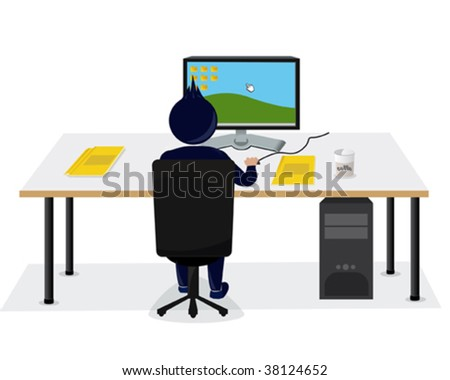 an illustration of a stylized character in the office
