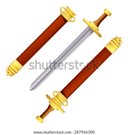 An illustration of a sword in and out of its scabbard - stock vector