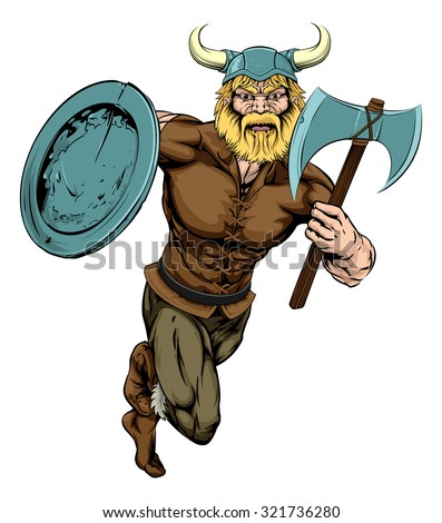 An illustration of a tough looking Viking Warrior mascot running with ax and shield - stock vector