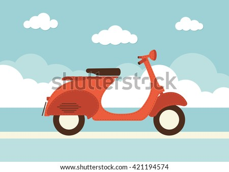An illustration of a vintage style vespa with banner