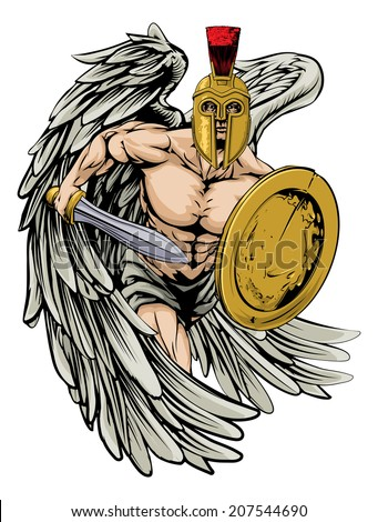 An illustration of a warrior angel character or sports mascot  in a trojan or Spartan style helmet holding a sword and shield  - stock vector