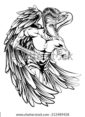 An illustration of a warrior angel character or sports mascot  in a trojan or Spartan style helmet holding a sword  - stock vector