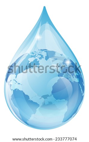 An illustration of a water drop with a globe inside. Water drop earth globe environmental concept - stock vector