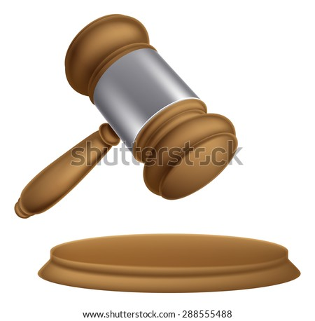 An illustration of a wooden judges court or auction sale gavel - stock vector