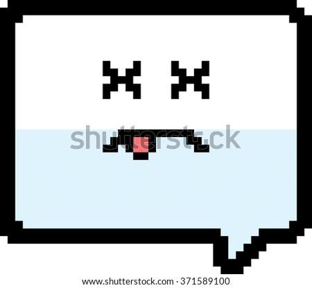 An illustration of a word balloon looking dead in an 8-bit cartoon style. - stock vector