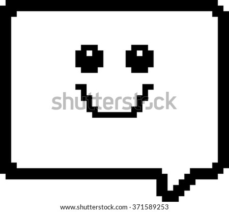 An illustration of a word balloon smiling in an 8-bit cartoon style.