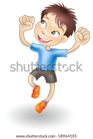 An illustration of a young Caucasian boy jumping for joy - stock vector