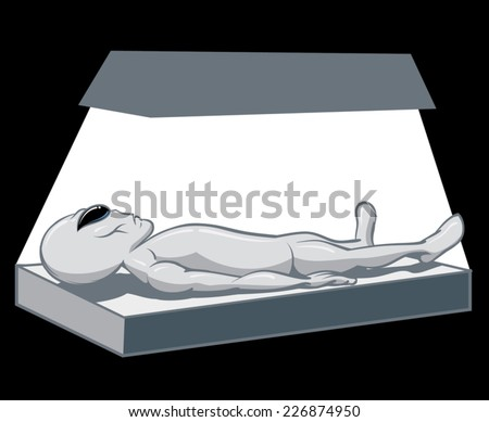 An Illustration of an Alien on the table for an autopsy - stock vector