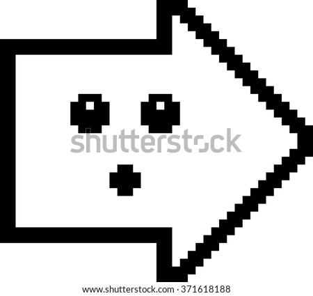 An illustration of an arrow looking surprised in an 8-bit cartoon style. - stock vector