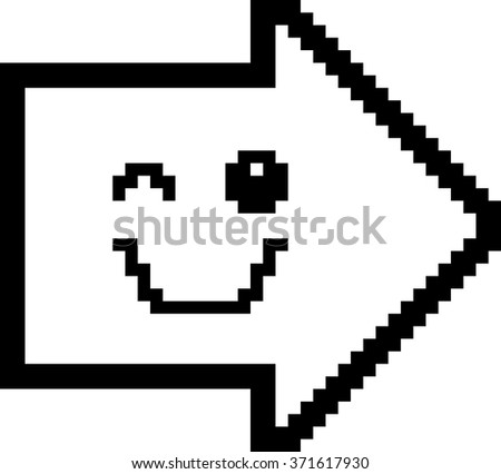 An illustration of an arrow winking in an 8-bit cartoon style. - stock vector