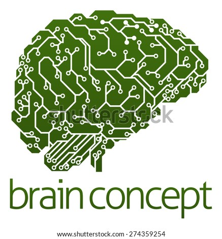 An illustration of an electrical circuit board brain in profile, artificial intelligence science concept - stock vector