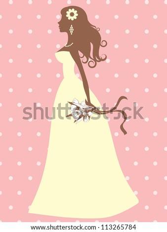 An illustration of an elegant bride silhouette - stock vector