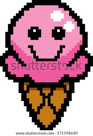 An illustration of an ice cream cone smiling in an 8-bit cartoon style. - stock vector