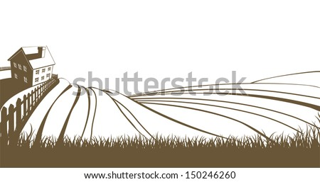 An illustration of an idyllic farm landscape with farmhouse and rolling hills - stock vector