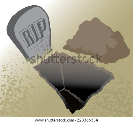 An Illustration of an open grave and headstone - stock vector