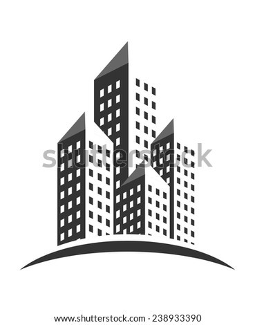 An illustration of buildings icon - stock vector