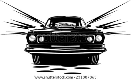 An Illustration Of Classic Car Abstract Silhouette Front View With Motion  Lines