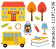 An illustration of colorful school icons - stock vector