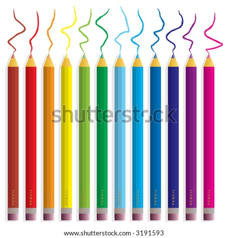 An illustration of coloured pencils covering all of the colours in the rainbow - stock vector