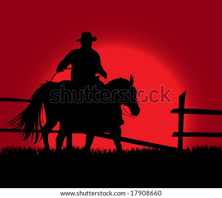 An illustration of cowboy on the background of the sunset - stock vector