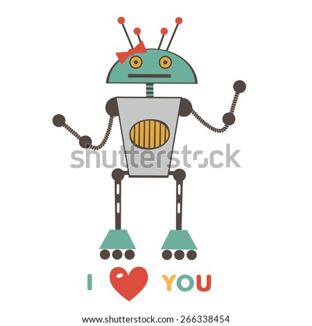 An illustration of cute love robot in vector format - stock vector