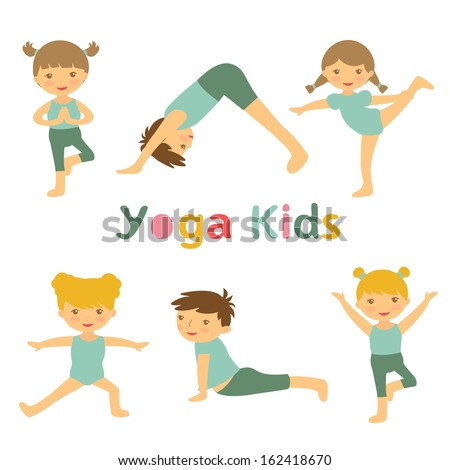 An illustration of cute yoga kids - stock vector