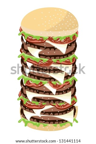 An Illustration of Delicious Gigantic Cheese Burger with Lettuce, Tomato, Onions and Cheese on Wheat Buns - stock vector