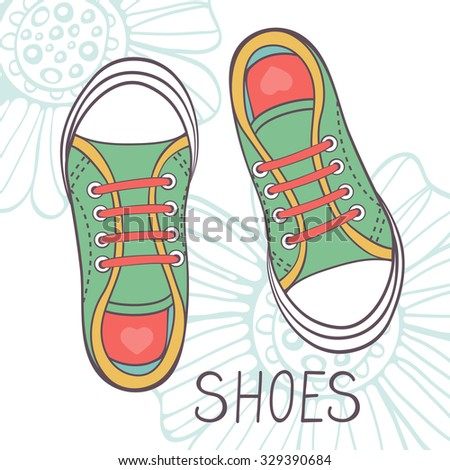 An illustration of fashionable girl trainers in vector format