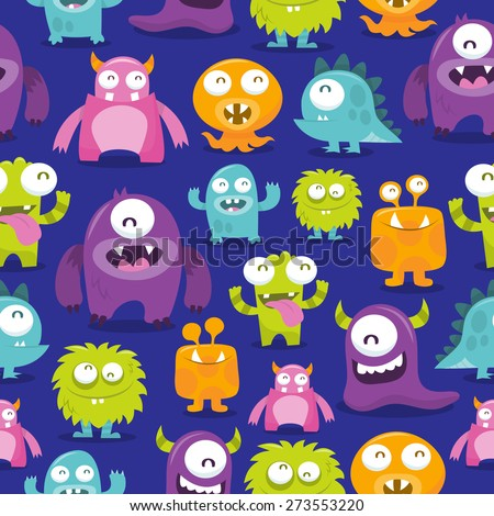 An illustration of happy, silly, cute monsters.  There 28 monsters in the illustration.  Some of them are fully visible and some partially visible.  - stock vector
