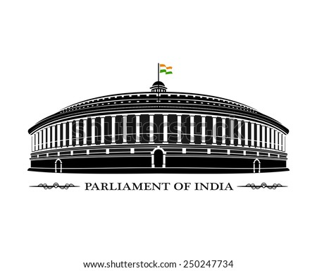 An illustration of Indian Parliament building - stock vector