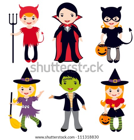 An illustration of kids in halloween costumes - stock vector